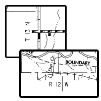 Township & Range on County Line Map